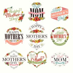 A Set Of Greeting Designs For Mother's Day With Flowers