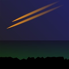 view the meteor in the dark blue sky beside the green sea