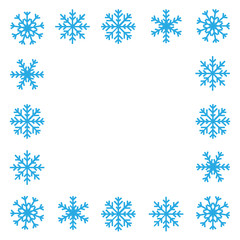 Blue snowflake border on white background