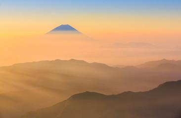 Fototapete - Mt.Fuji and sea of clouds from Kitadake, Minami Alps, Japan