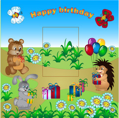card with birthday greetings with the animals and gifts