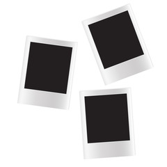 three isolated glossy blank photos on a white background