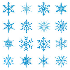 Snowflake, set, blue