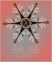 brown snowflake of ice crystals on a beige background
