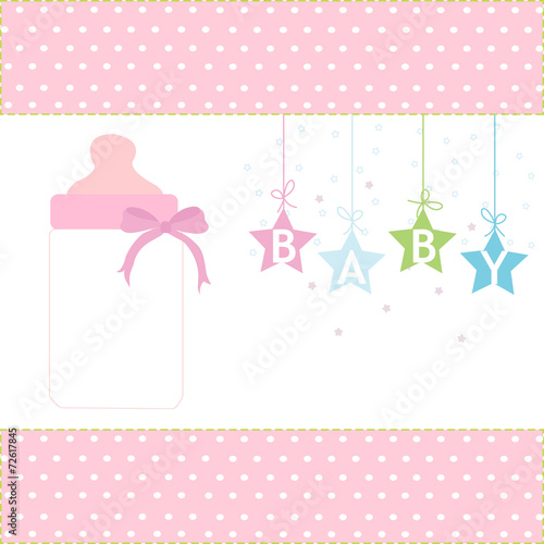Baby girl greeting card hanging stars and bottle background stock baby girl greeting card hanging stars and bottle background m4hsunfo