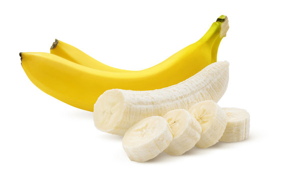 Two bananas and pieces isolated on white
