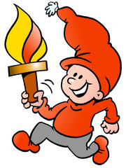 Happy Christmas Elf running with a torch flame