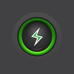 dark glossy circle lightning button