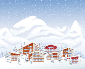 Mountain ski resort in winter