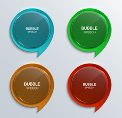 Vector modern glass bubble speech icons set.
