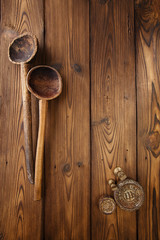 antique vintage wooden spoon on old wooden table in rustic style