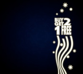 a buy two get one free background with stars