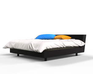 Modern bed with blue and yellow pillows