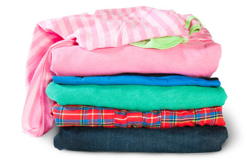 Stacked And Crumpled Multicolored Clothes