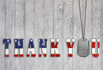 military dog tag thank you on wood