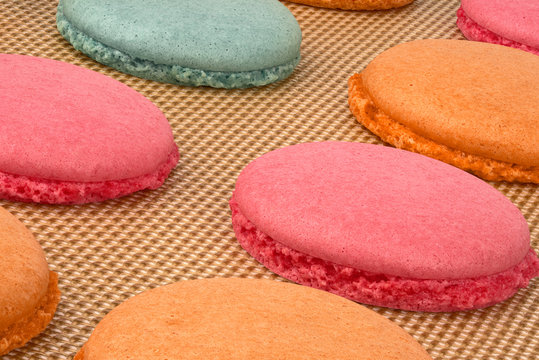Colorful macarons during baking