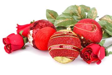 Christmas balls and roses