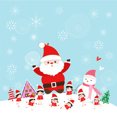 christmas with santa claus and kids funny