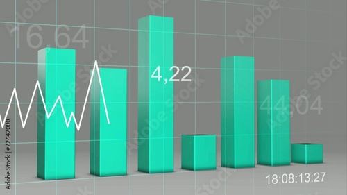 Blue Cyan Color Chart Bar Statistic 3d Loop Stock Footage And