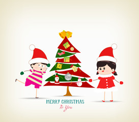 vintage christmas tree and kids funny