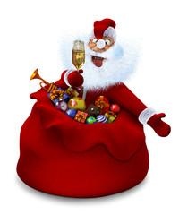 Santa Claus with a glass of champagne in a bag