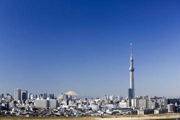 快晴青空、富士山と東京スカイツリー そして都心の街並を望む。024