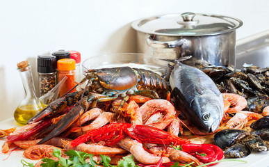 Still life with fresh raw seafoods