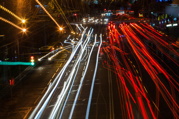 Fotobehang Nacht snelweg night traffic