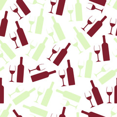red and white wine glasses and bottle seamless pattern eps10
