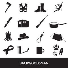 black backwoodsman icon set eps10