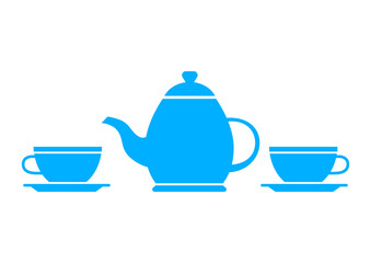 Blue teapot and teacup on white background