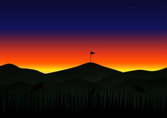Twilight sunset beautiful landscape with flag vector background.