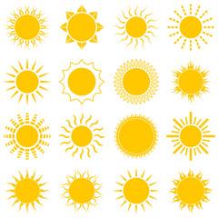 Sun icon set on white background