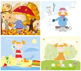 4 seasons and the child outside - vectors for kids