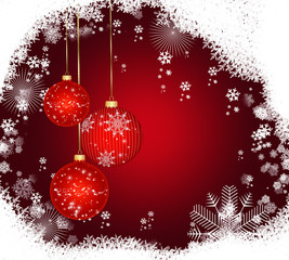 Christmas background ,red balls and snow.