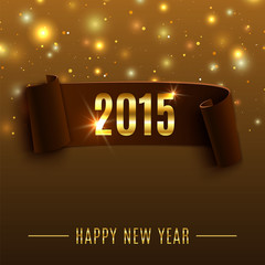 Happy New Year 2015 celebration background with realistic curved