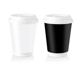 Black & White Disposable Coffee Cup With Blank Label