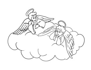 Angels on a cloud, vector illustration
