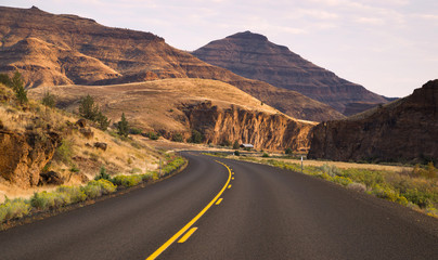 Curves Frequent Two Lane Highway John Day Fossil Beds