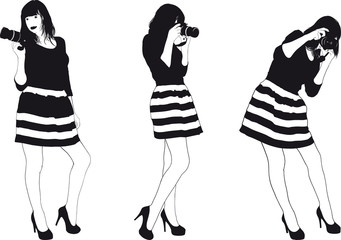 Girl With SLR Photocamera