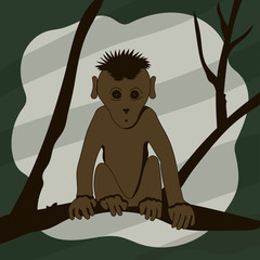Cartoon monkey sitting on a tree branch