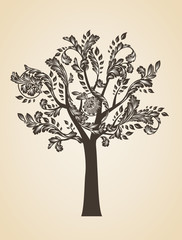 Swirl tree art concept. Brown logo. Engraving Logotype