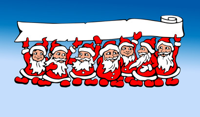 Seven Santas graphic illustration