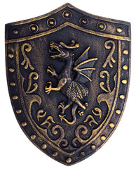 Middle age metallic shield with dragon