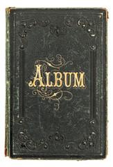 antique book with golden decoration. vintage photo album
