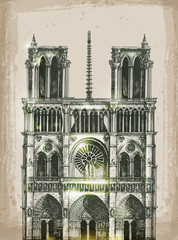Cathedral of Notre Dame de Paris, France. Hand Drawn