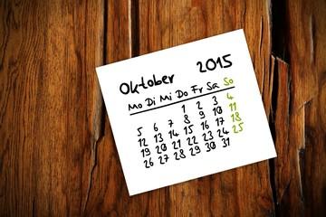 holztisch kalender jahr 2015 oktober I