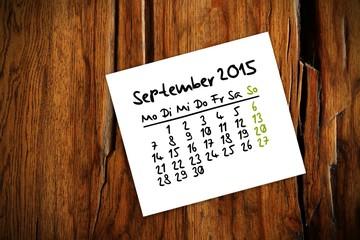 holztisch kalender jahr 2015 september I