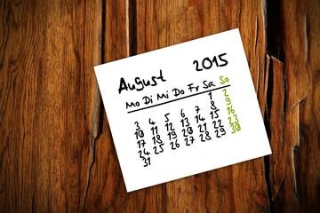 holztisch kalender jahr 2015 august I
