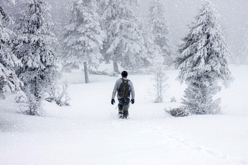 man trekking in foggy winter landscape